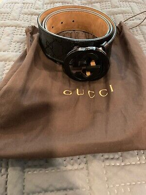 e300e1316 PREOWNED AUTHENTIC MENS All Black Interlocking G Gucci Belt Size 40 ...