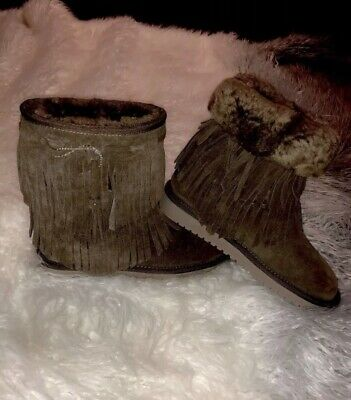 aff6c6a9b48 KOOLABURRA DOUBLE FRINGE short low boots 5 chocolate brown worn once ...