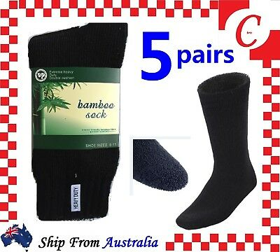 5Prs BAMBOO SOCKS Men's Heavy Duty Premium Thick Work BLACK/Navy/Grey Bulk New