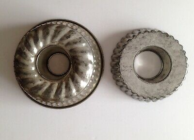 Gorgeous Vintage Kitchenalia Metal Jelly / Cake Moulds X 2 Cafe Bakery Decor