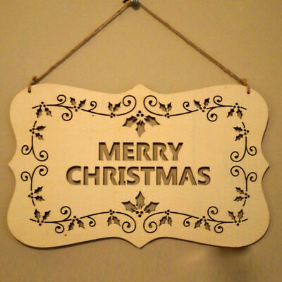 Merry Christmas Wooden Cutout Letter Plaque Hanging Signs Home