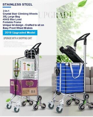 New 2019 Foldable Stainless Steel Shopping Trolley Cart Grocery Luggage Basket