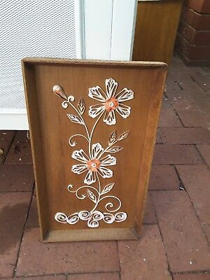 KITSCH shell art FLOWER VINTAGE RETRO WALL PICTURE TIMBER FRAME