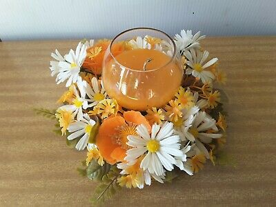 Vintage Retro Glass  Candle Holders PLASTIC  Flowers Kitsch ORANGE WHITE DAISY