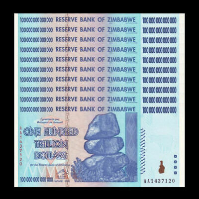 Zimbabwe 100 Trillion Dollars 2008 Banknote 10 Pieces Lot UNC AA+