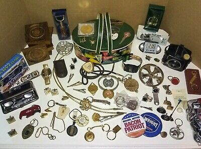 HUGE Lot Vintage Now Mens Junk Drawer Jewelry Watch GP Coin Camera Key Resale?