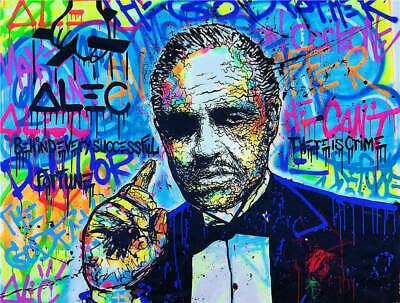 Alec Monopoly Oil Painting on Canvas Graffiti Wall Decor The Godfather 24x32in