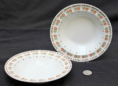 2 x Alfred Meakin Glo White MEA262 Orange Flowers Green Leaves Cereal Bowl (b)