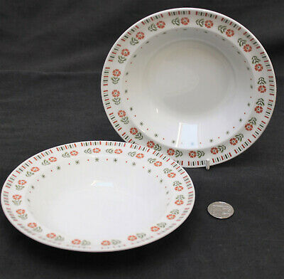 2 x Alfred Meakin Glo White MEA262 Orange Flowers Green Leaves Cereal Bowl (c)