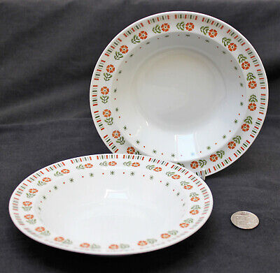 2 x Alfred Meakin Glo White MEA262 Orange Flowers Green Leaves Cereal Bowl (a)