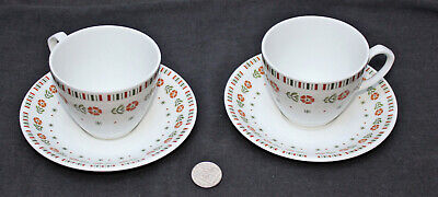 2 x Alfred Meakin Glo White MEA262 Orange Flowers Green Leaves Cup & Saucer (b)