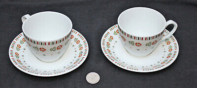 2 x Alfred Meakin Glo White MEA262 Orange Flowers Green Leaves Cup & Saucer (a)