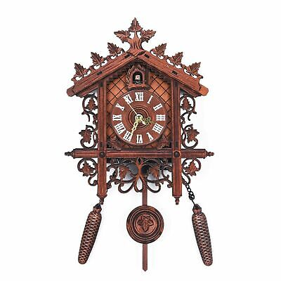 Good Bird Sound Wooden Cuckoo Wall Clock Forest Design Hanging Pendulum Wei
