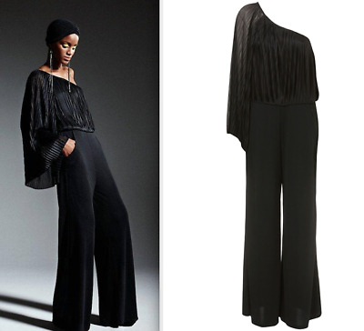 9a0fd116ec8b Topshop Beautiful Black One Shoulder Wide Leg Kimono Cape Sleeve Jumpsuit  New