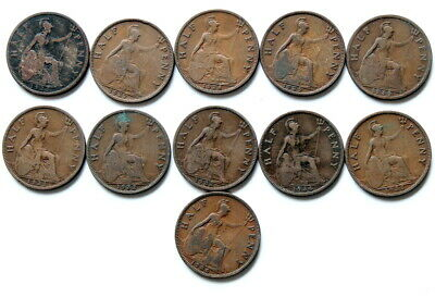 11 X Half Penny's 1926-1936  The 11 Coins Are Fine & Better