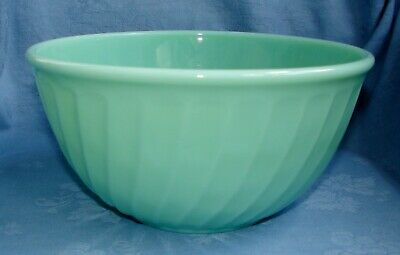 "Vintage Fire King Glass Jadeite Swirl Bowl ~ Ovenware Made In Usa 9"" X 4 1/2"""