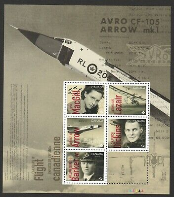 Canada 2019 Aviation Canadians In Flight Souvenir Sheet Of 5 Stamps In Mint Mnh