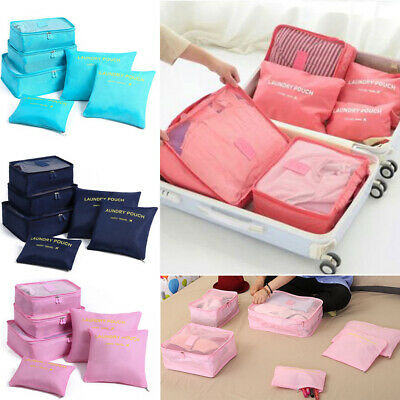 6Pcs Packing Cubes Travel Pouch Luggage Organiser Clothes Suitcase Storage Bag I