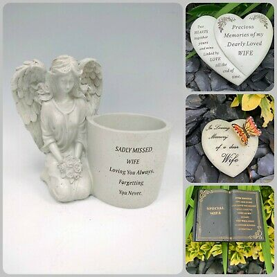 Wife Memorial Heart Plaque Butterfly Stick Stake Flower Vase Grave Candle Item