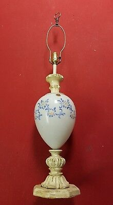 Large Vintage Lamp Glass Body Wood Base Paul's Products Italy 2.5kg 74cm tall