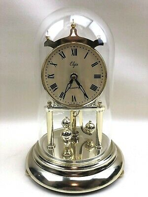 Vintage Elgin Gold-Tone Quartz Table/Mantle Clock With Glass Dome Made In Japan