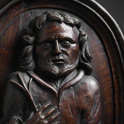 Antique early 18th century carved oak bust relief of Saint Joseph folk art
