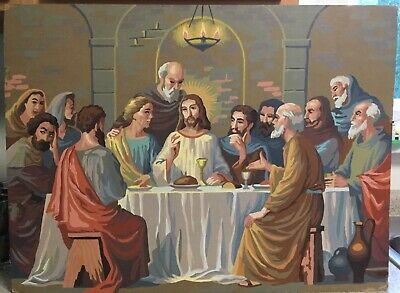 "Vintage ""The Last Supper"" Paint by Number Mid-Century Large Picture Painting"