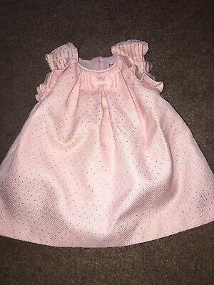 Ted Baker Baby Girl Pink Gold Spot Dress A Line Size 3-6 Months great Condition