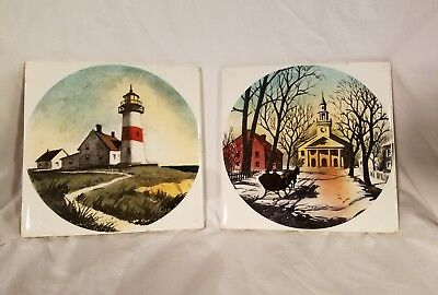 Delano Studios NY Two Antique Hand Painted Tile Trivets 6 x 6 Very Nice Pieces