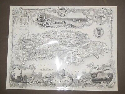 Thomas Moule County Map of Sussex (c1840) Mounted, Brighton, Chichester, Arundel