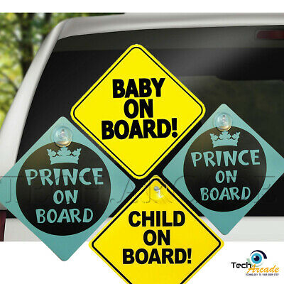 Baby Child Prince Princess On Board Car Window Sign Safety Suction Cups Vehicle