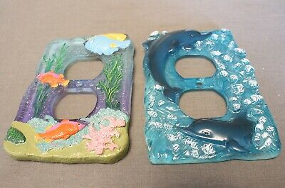 Pair Of Rare Vintage Custom Epoxy Resin Marine Life Themed Outlet Covers, Nice