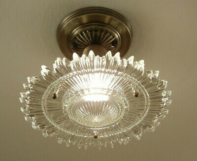 Vintage Ceiling Light Art Deco Sunburst Starburst Glass Antique Brass Fixture