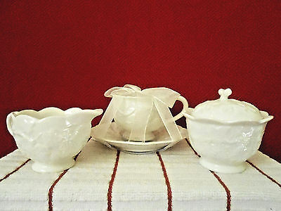 Grace's Teaware White Grape/Leaf Creamer, Sugar Bowl & Lid, Teacup & Saucer New