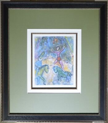 "Framed. Marc Chagall, Hand Signed Print ""L'Ange pourpre"".  Magnificent framing."
