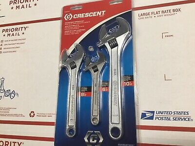 "Crescent Adjustable Wrench Set of 3 AC26810VS 6"" 8"" 10"""