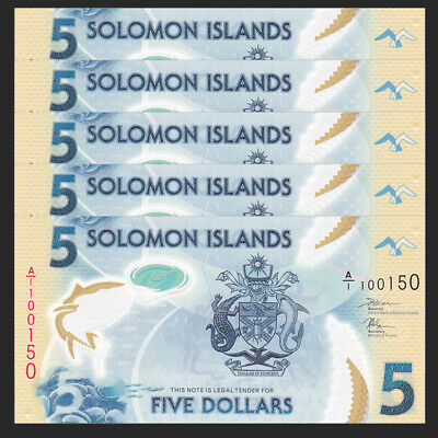 Solomon Islands P-New A//1-Prefix Polymer ND 2019 UNC $5