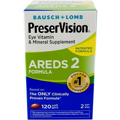 Baush & Lomb PreserVision Eye Vitamin & Mineral Supplement Areds 2- 120 softgels