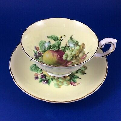 Vintage Royal Grafton Made In England China Royal Grafton Tea Cup and Saucer Fruit and Berries 1960s Tea Cup and Saucer Bone China