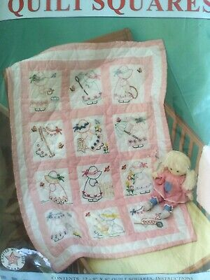 """Jack Dempsey Needle Arts 12 9"""" Nursery Quilt Squares Girls Pattern 21 Embroidery"""