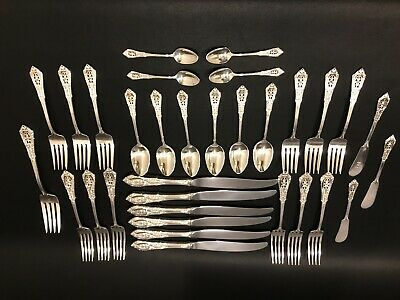 32 Pieces Of Wallace Sterling, Rose Point 1934
