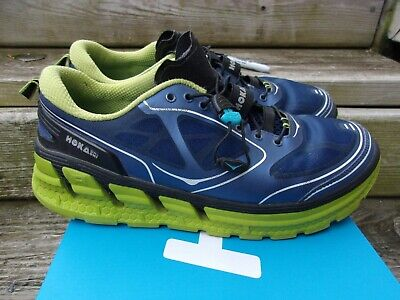 9038ae2afb638 HOKA One One ~Navy Mesh Upper Lime Soles M-CONQUEST Running Shoes ~Men's