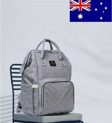 NEW LAND Baby Diaper Backpack Nappy Mummy Changing Bag With USB Port (GREY)