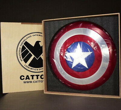 Cattoys 1:1 Avengers Captain America Shield Alloy Metal with Box Cosplay Props