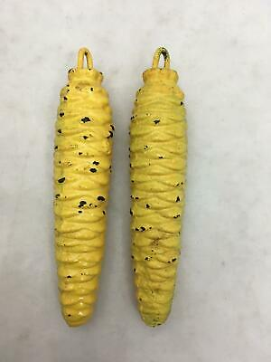 Lot of 2 Vintage Yellow Cast Iron Cuckoo Clock Weights PAIR 9.1 Oz ea