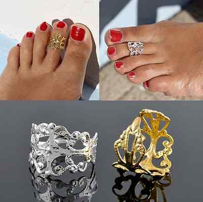 Gold Silver Cross Stitch Flower Metal Toe Ring Foot Beach Jewelry Adjustable HS