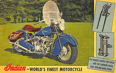 Indian World's Finest Motorcycle Linen Advertising Postcard