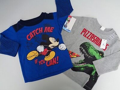NEW Lot 2 Baby Gap & Disney Mickey Tee T-shirt Size 12-18 M Dino Boys Toddler