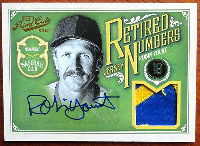 Robin Yount 2012 Prime Cuts Retired Jersey Numbers Patch Auto #7/10 Brewers HOF