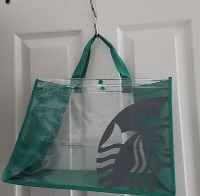 New Starbucks Clear See Through Mermaid Logo Tote Gift Shopping Bag Green or Red